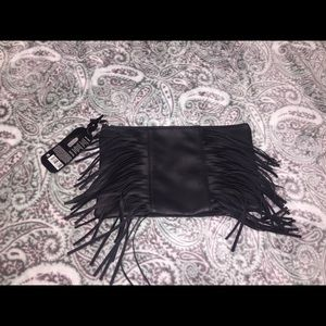 NWT Ion Color Brilliance Black Tassel Clutch